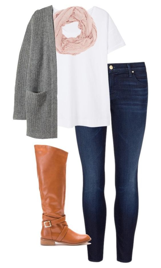 #fall #outfits / Grey Cardigan + Pink Scarf