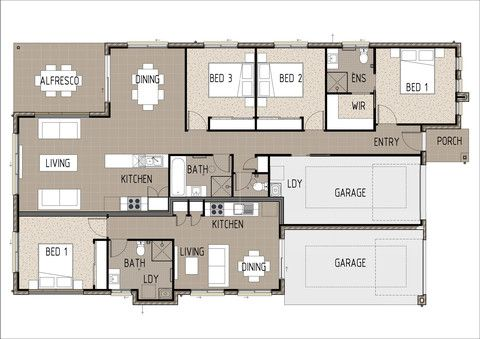 Duplex 4001. Floor Plan. This duplex design has multiple living options including renting out the one bedroom half, using the one bedroom half as either a private living quarters for a family member or changing the design slightly to open up the whole duplex to become one house