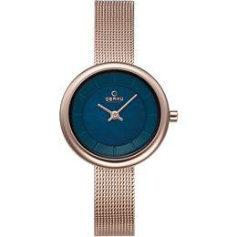 OBAKU Stille - azure // Rose gold and blue stainless steel watch