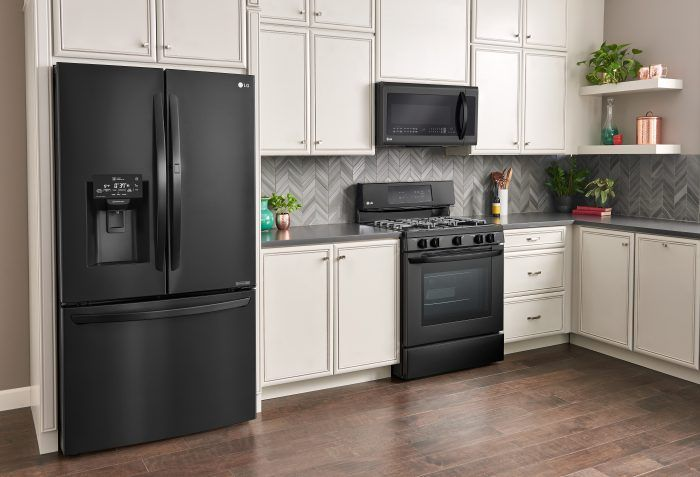 Why You Ll Love Lg Matte Black Kitchen Appliances Black Appliances Kitchen Matte Black Kitchen Appliances White Cabinets