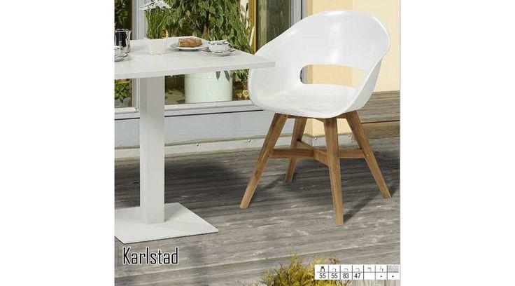 Egyszerre klasszikus és modern! Foglaljon helyet, a kényelem vezet! 🍉 🍰<3  Karlstad kültéri karosszék  - Tömör teafa lábak - Modern kialakítás - Fehér ülés erős polipropilénből