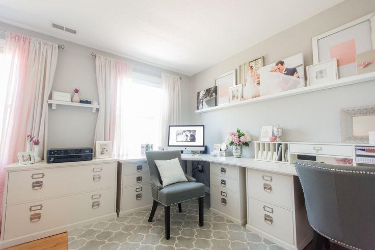 #office, #desk, #gray  Photography: Deborah Zoe Photography - www.facebook.com/deborahzoephotography  Read More: http://www.stylemepretty.com/living/2014/10/02/pink-gray-home-office/