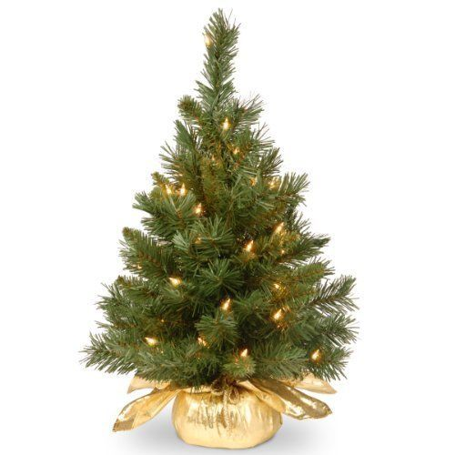 Mini Christmas Tree 2 ft. Tall in Gold Cloth Bag & Lights Xmas Home Decoration  #NationalTree