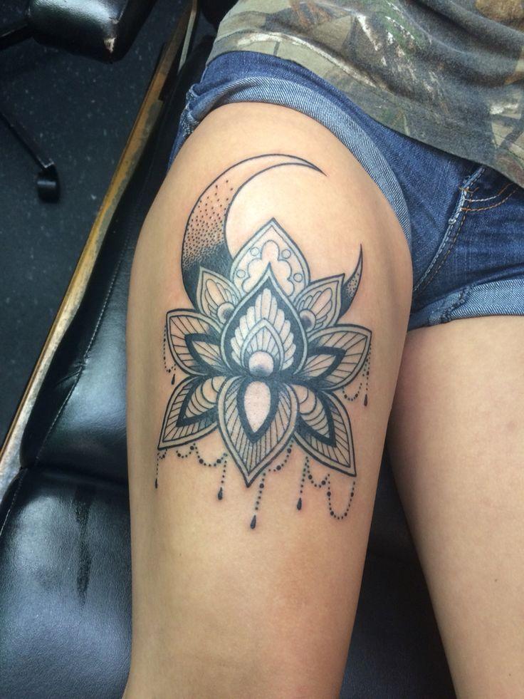 Mandela style moon and lotus flower (my tattoo)
