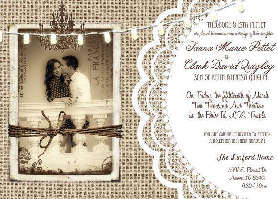 Rustic Wedding Invitation burlap lace by MissBlissInvitations