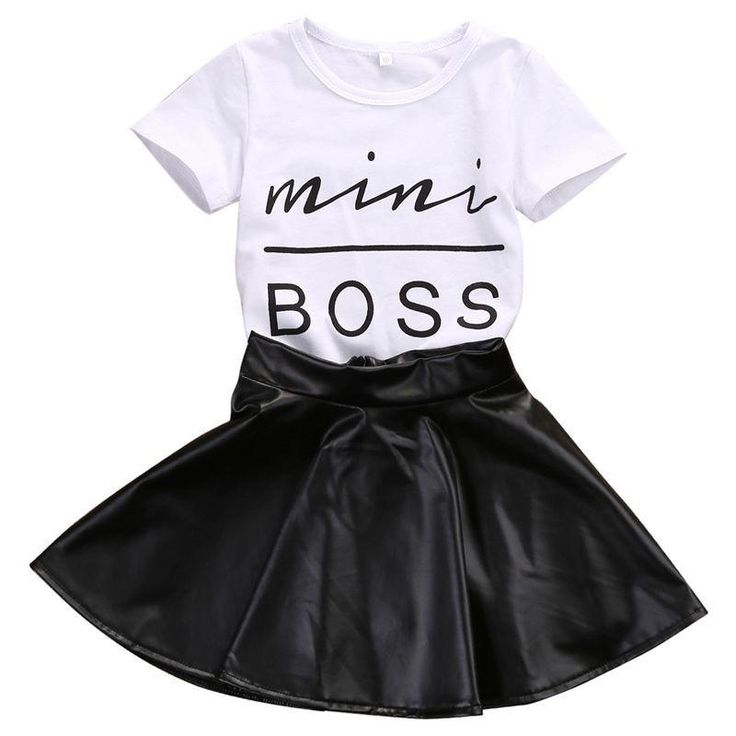Toddler Kids Girl Clothes Set Summer Short Sleeve Mini Boss T-shirt Tops   Leather Skirt 2PCS Outfit Child Suit