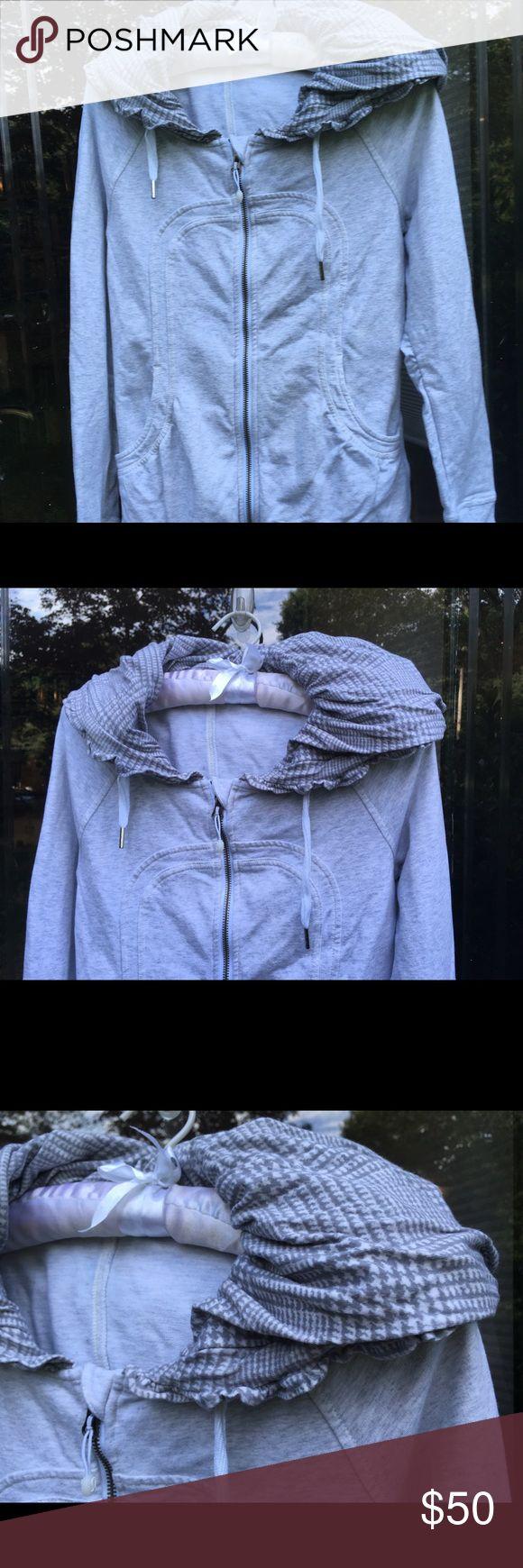 Lululemon Warm-Up Jacket With Lined Hood Wonderful warm up jacket from Lululemon, with all the bells and whistles--Size 4 (Lululemon sizing)--lovely grey plaid lining inside the hood. lululemon athletica Jackets & Coats