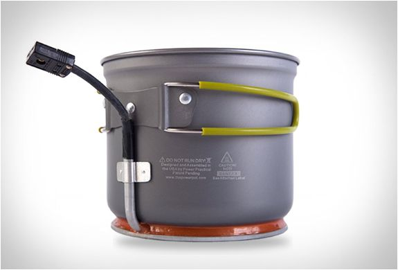 Powerpot. It is an innovative portable electric generator that doubles as a cooking pot, it converts heat directly into power enabling you to charge any USB handheld device. #travel