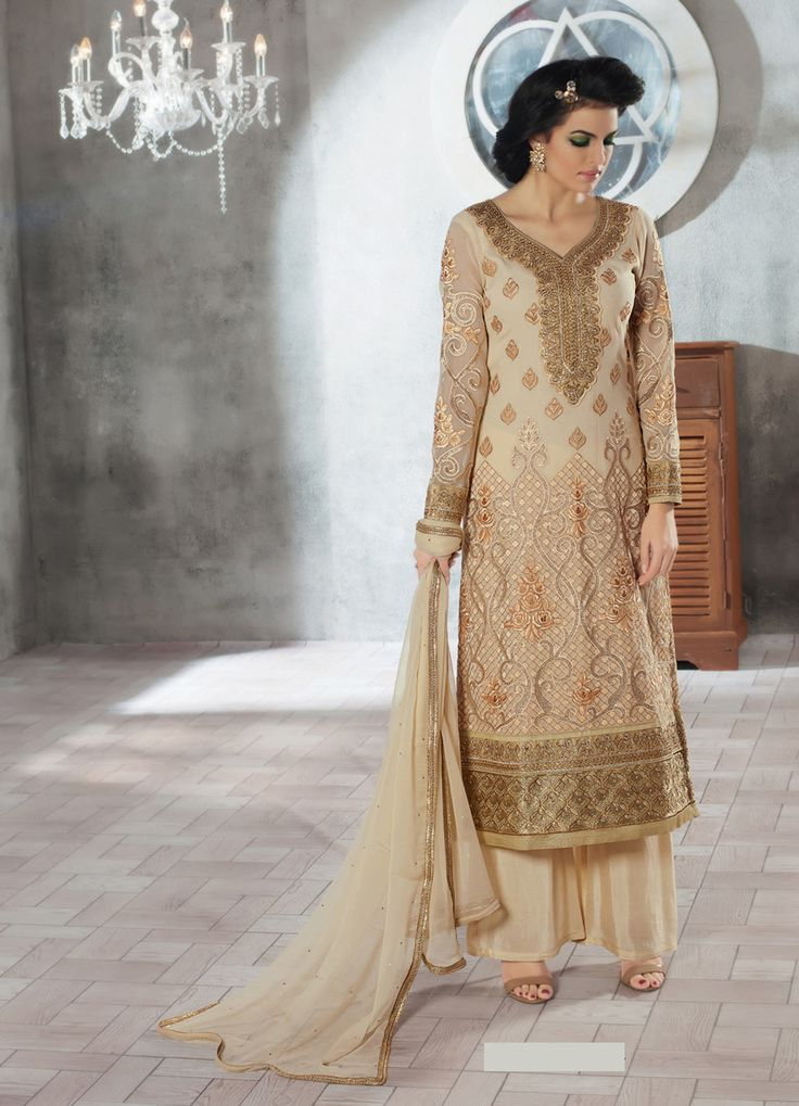 Beige Georgette Palazzo Style Suit 67076