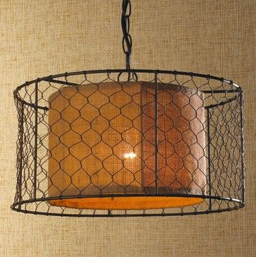 Chicken Wire with Burlap Drum Pendant - pendant lighting - Shades of Light   http://www.houzz.com/photos/3237176/Chicken-Wire-with-Burlap-Drum-Pendant-pendant-lighting