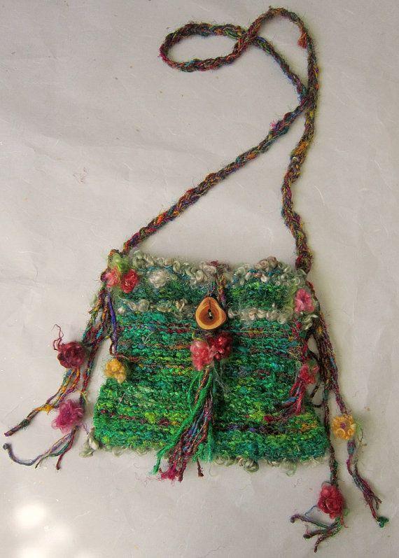 rustic handknit gypsy wanderer shoulder boho bag by beautifulplace, $58.00