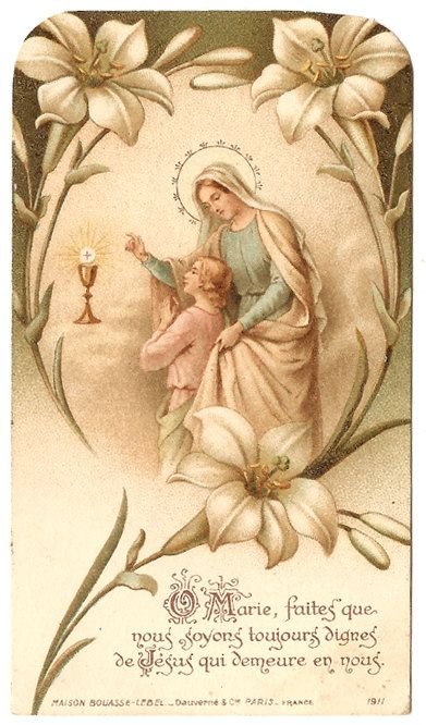French Antique Art Nouveau Holy Prayer Card Mary & Child Jesus Communion from Vintage Paper Attic