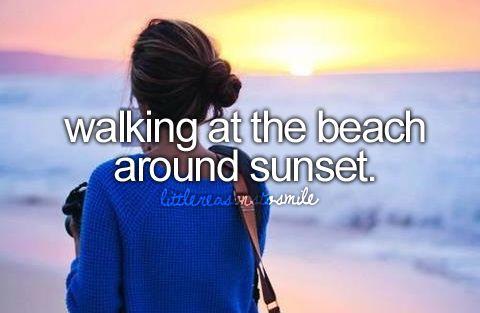 walking at the beach around sunset