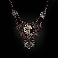 Steampunk Lady cameo ketting met tandwielen detail koperkleurig - Gothic Metal