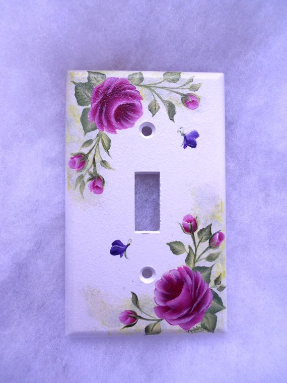PINK ROSES  Light Switch Plate - floral switchplate on Etsy, $10.99