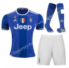 2016-17 Juventus Away Blue Thailand Soccer Uniform With Patches and Socks