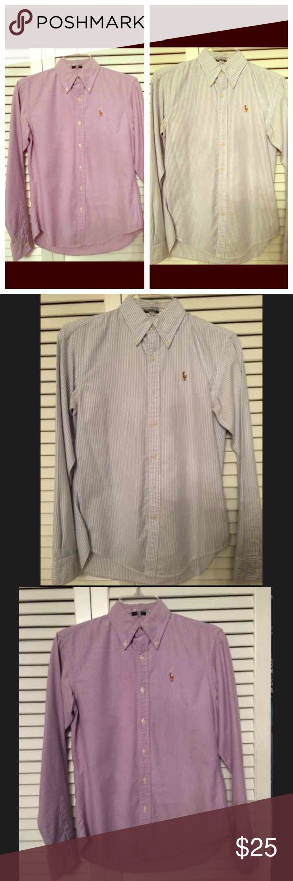 Bundle Ralph Lauren oxford shirt Bundle Women's Ralph Lauren polo button down classic fit lavender purple oxford and blue and white stripe. Good condition. One small pin sized mark under polo horse on purple shirt blouse  Bundle and save. Willing to accept reasonable offers on most items. All buttons still in tact Ralph Lauren Tops Button Down Shirts