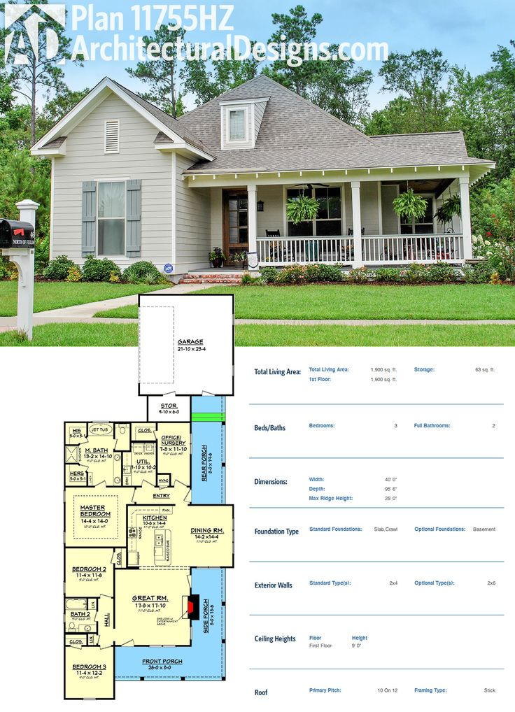 Architectural Designs House Plan 11755HZ gives you 3 beds and 2 baths and just under 2,000 square feet of living in a 40'-wide footprint.  Ready when you are. Where do YOU want to build?