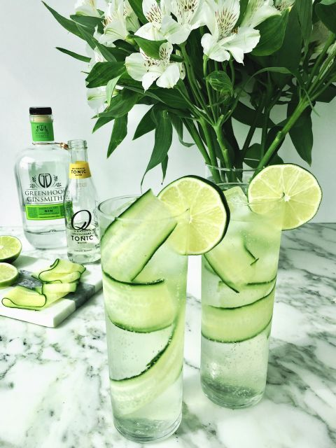 Cucumber G&T  Ingredients:   1.5 Hendrick's  Gin  4 parts Q Tonic  3 Cucumber Ribbons, per drink  Directions:   Lay cucumber ribbons against the inside of a tall Collins glass end to end from bottom to top.  Carefully add cube ice. Top with gin and tonic and garnish with lime.