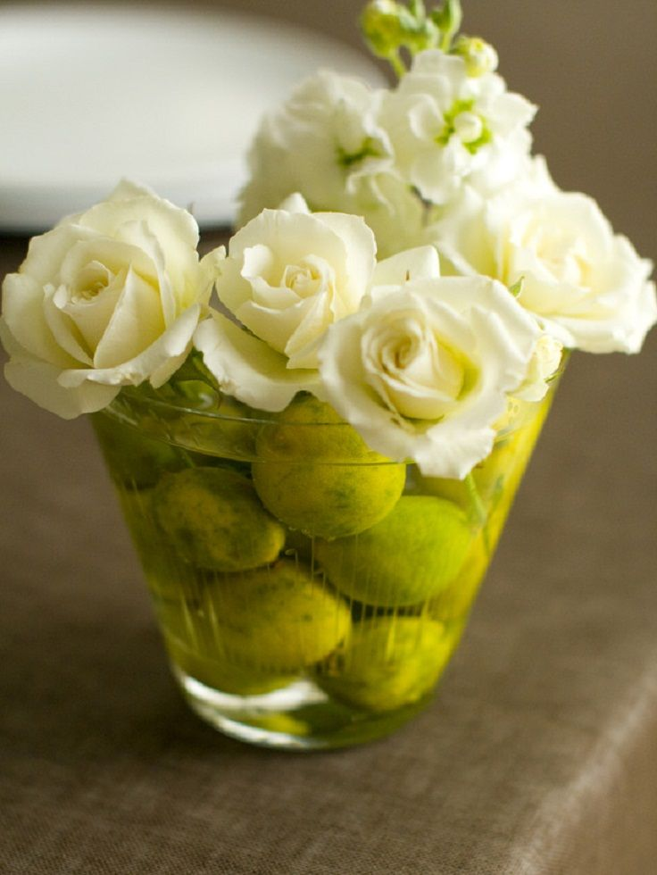 Diy Flower Arrangement Wide Mouth Glass Vase Limes And