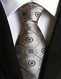 Men Wedding Cocktail Necktie At Work Gray Yellow Pattern Tie