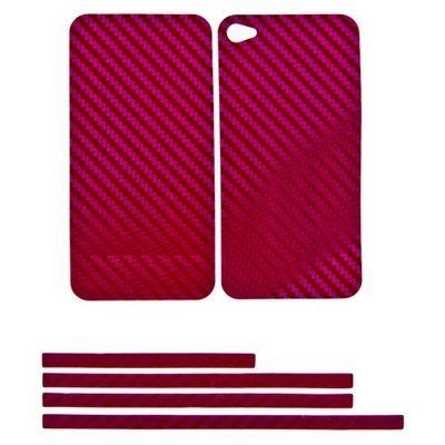 Купить Наклейка карбон для iPhone 4s| 4 фиолетовая на переднюю, заднюю и боковые части, доставка по Москве и всей РФ.