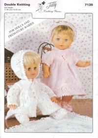 Teddy Dolls Clothes knitting pattern.  Just one of many we have for sale.