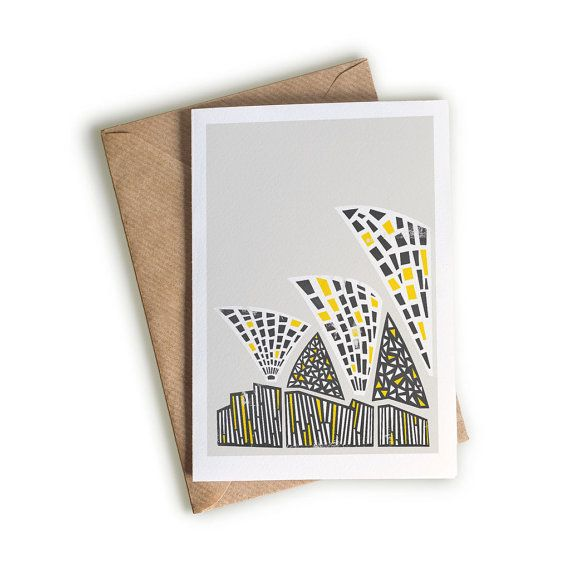Sydney Opera House Card, Abstract Card, Blank Greeting Card, Illustrated Notecard, Illustration, Black Yellow and White, Famous Buildings
