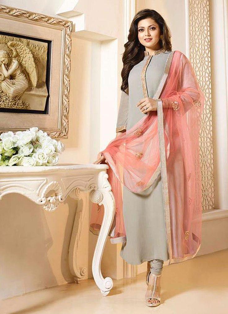 Prime Embroidered Work Grey Georgette Churidar Designer Suit