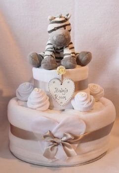 Two Tier Zebra Nappy Cake Gift - Crafty Magpie