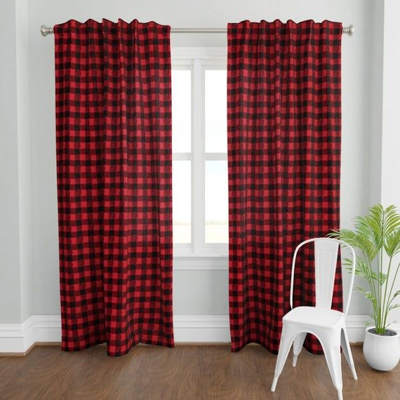 Modern Buffalo Check Curtain Panel Buffalo Plaid By