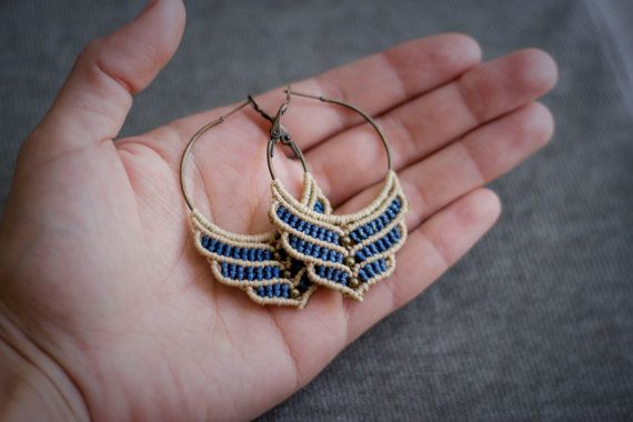 Circle macrame earrings with brass beads by gimacrame on Etsy