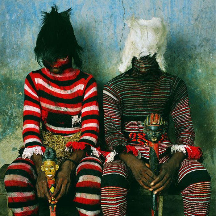 """Large-scale color photographs from 2005 to 2006 reflect the ritual adornment and spirituality of masquerade in Nigeria, Benin and Burkina Faso in West Africa. These portraits of masqueraders build on Galembo's work of the past twenty years photographing the rituals and religious culture in Nigeria, Brazil, Cuba, Jamaica and Haiti, as well as the homegrown custom of Halloween in the United States. Organized by Ian Berry, Malloy Curator of the Tang Museum, in collaboration with the artist."""
