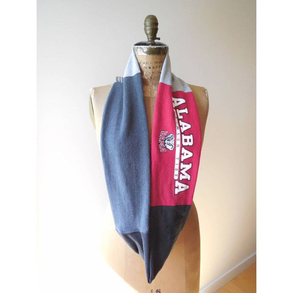 University of Alabama T Shirt Scarf Womens Tee Accessory Football... ($29) ❤ liked on Polyvore featuring tops and t-shirts