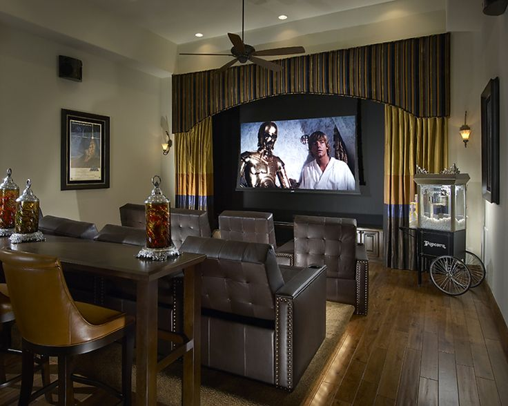Love this! Definetly want to use the layout of this home theater with the 2 rows of seating (one elevated) and a third elevation for a narrow bar table! Also love the framing of the TV/screen using curtains, nice!