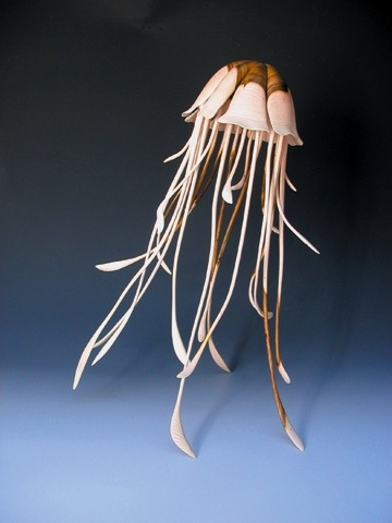 Turned wood jellyfish. Alain Mailland