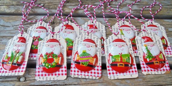Santa Claus Gift Tags  Set of 10  christmas by RogueKissedCraft