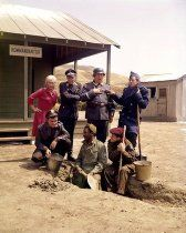 """Hogan's Heroes"" Bob Crane, Sigrid Valdis, Werner Klemperer, John Banner, Robert Clary, Ivan Dixon, Richard Dawson circa 1966"