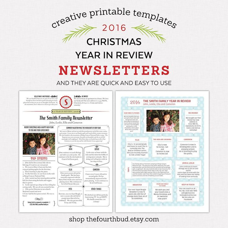 40 best Christmas Newsletter and Year In Review Templates images - holiday newsletter template