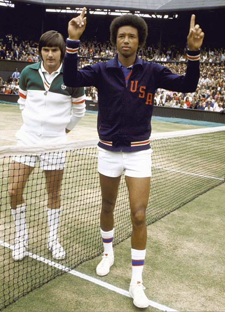 Jimmy Conners & Arthur Ashe, the only African American tennis player to win singles titles at Wimbledon, the US Open & the Australian Open. He was a major civil rights supporter, wrote for Time magazine, and commentated for ABC News. In the early 1980s, Ashe contracted HIV from a blood transfusion he received during heart bypass surgery. He died from AIDS-related pneumonia on February 6, 1993.