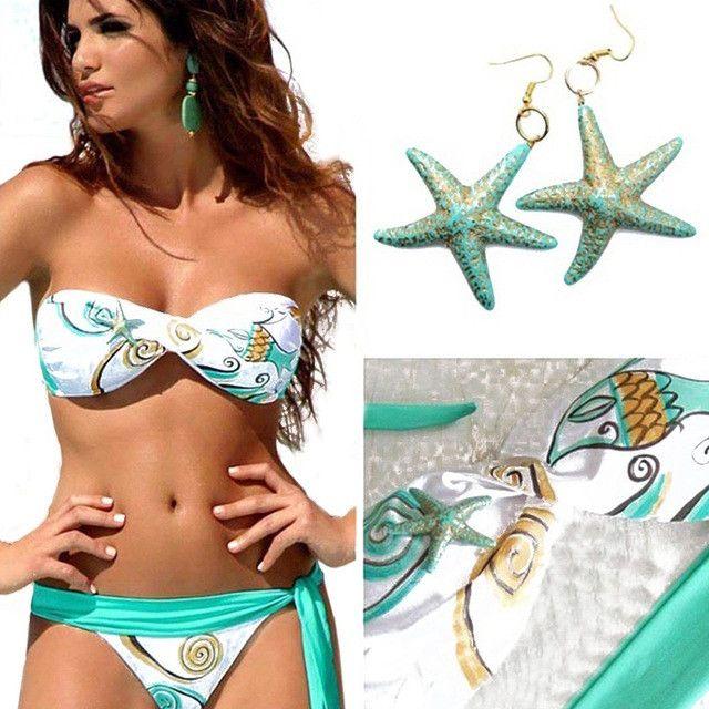 Trendy Lace-up Padded Bra Low Waist Side Tie Bikini