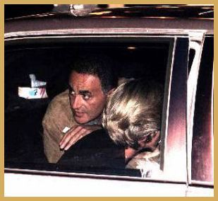 Dodi Al Fayed looks over Princess Diana's shoulder just minutes before the two of them will died in a Paris tunnel.