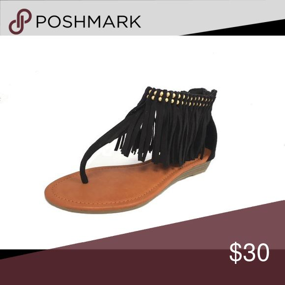 Ladies high top sandals with ankle studs & fringe Really stylish, man made suede, high top with ankle studs and fringe. Black color. Available also in cognac color. Brand new. NO TRADES shoeroom21 boutique Shoes Sandals