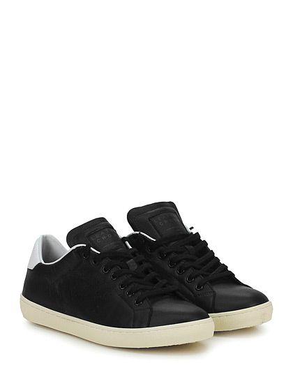 Leather Crown - Sneakers - Uomo - Sneaker in pelle con logo su linguetta e suola in gomma. Tacco 30, platform 20 con battuta 10. - NERO\BIANCO