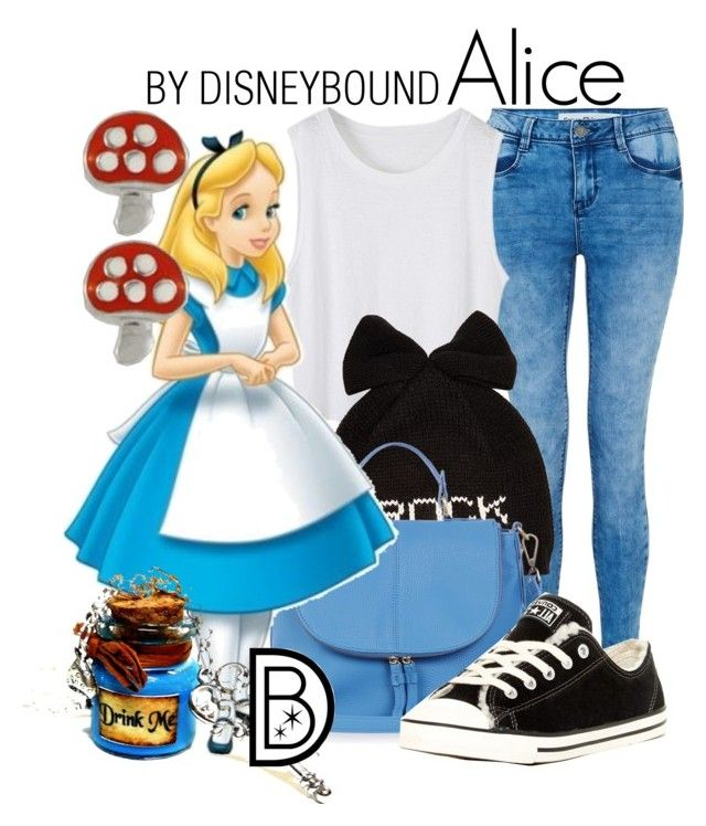 """Alice"" by leslieakay ❤ liked on Polyvore featuring Betsey Johnson, Oasis, Converse and Disney"