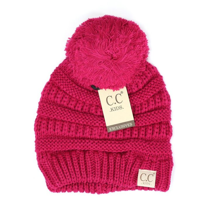 Kids C.C. Hot Pink with w/ Pom Solid Ribbed CC Beanie/ Knit Cap ~ Great Stocking Stuffers by SimplyCuteCottons on Etsy