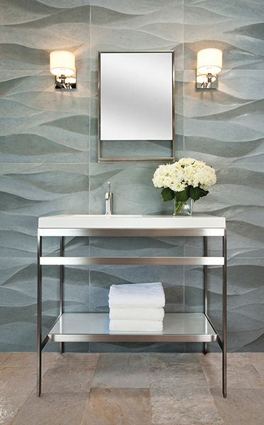 Decorative Materials, Denver, specified Artistic Tile's Ambra in both matte and polished finishes to evoke the movement of waves.