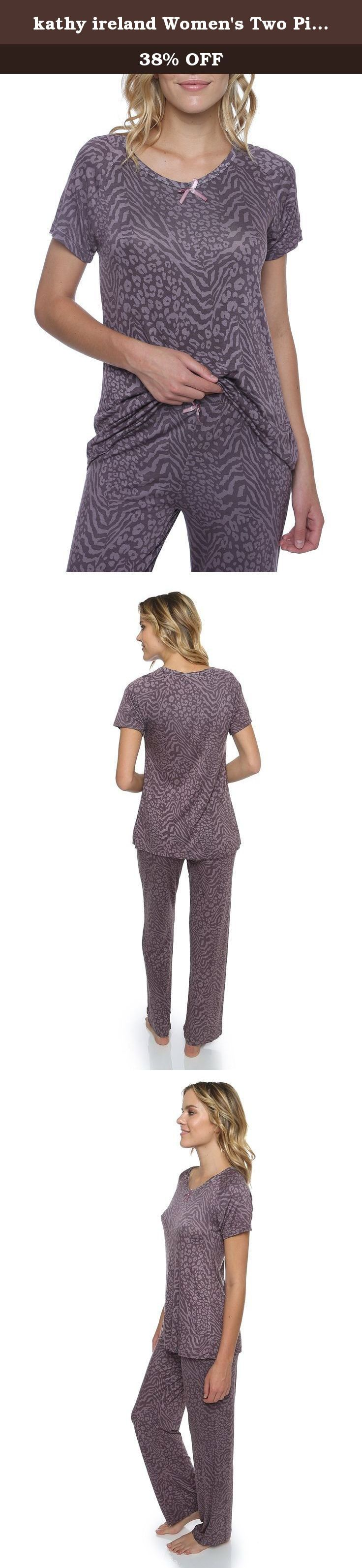 kathy ireland Women's Two Piece Animal Print Sleep Shirt and Pant Set Purple L. This two piece matching sleep set comes with a light and beautiful animal printed top with a simple bow along the collar and a pair of sleep pants with a matching bow along the waistline.