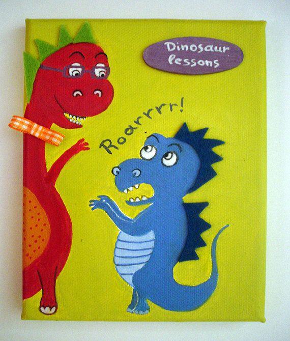Dinosaur lessons  kids wall art children's room by LaCameraFelice, $28.00