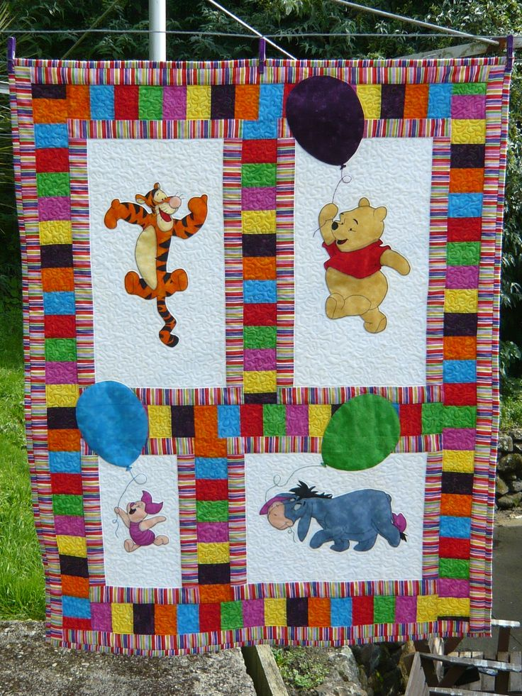 OOAK Winnie-the-Pooh quilt made for a family member. Berry Patch Cottage - Fabric and Crafts www.berrypatchcottage.co.nz